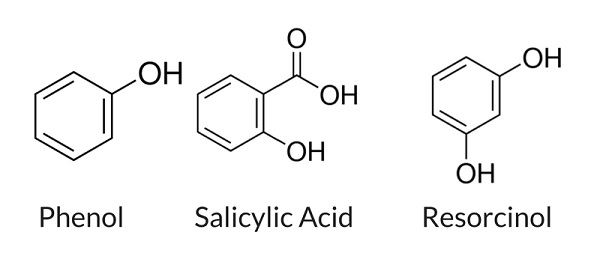 phenol salicylic acid and resorcinol chemical structure comparison